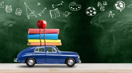 papeteria : Back to school looped 4k animation. Car delivering books and apple against green colored school blackboard with education symbols. Car is moving from left to right.
