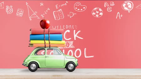 papírnictví : Back to school looped 4k animation. Car delivering books and apple against coral colored school blackboard with education symbols. Car is moving from left to right.