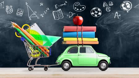 papeteria : Back to school. Car delivering books and apple against school blackboard with education symbols. Seamlessly looped 4k animation.