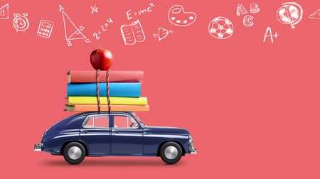papeteria : Back to school looped 4k animation. Car delivering books and apple against coral colored school blackboard with education symbols. Car is moving from left to right.