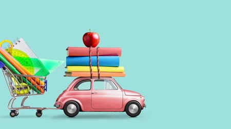 papírnictví : Back to school. Car delivering books, shopping cart with stationery and apple against blue school blackboard with education symbols. Car is moving from left to right. Seamlessly looped 4k animation