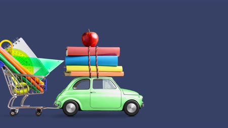 troli : Back to school. Car delivering books, shopping cart with stationery and apple against blue school blackboard with education symbols. Car is moving from left to right. Seamlessly looped 4k animation