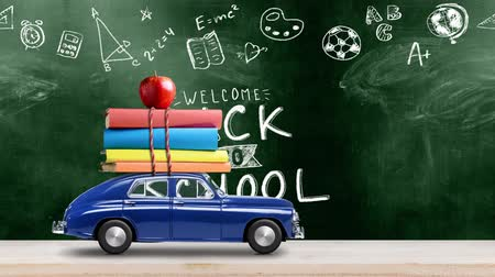 papírnictví : Back to school looped 4k animation. Car delivering books and apple against green colored school blackboard with education symbols. Car is moving from left to right.