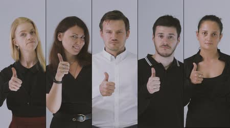 atenção : Business team likes and showing thumbs up. Collage, 4k resolution. Stock Footage