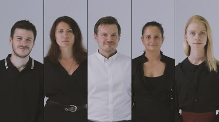 hivatal : Looking sideways and then at camera. Collage of business team portraits, 4k.