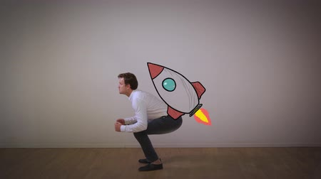 rocket launcher : Launching startup business. Businessman fly on rocket from squatting to the moon and starry sky.