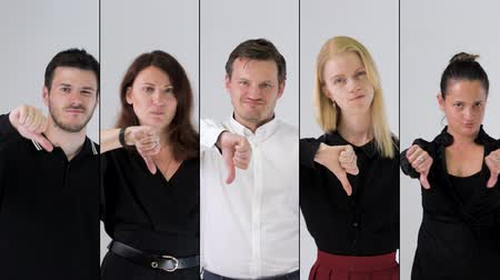 Business team disapproving and showing thumbs down. Collage, 4k resolution.
