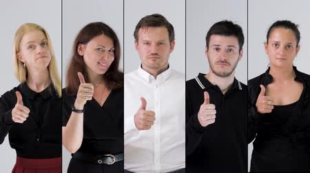 Business team likes and showing thumbs up. Collage, 4k resolution. Stock Footage