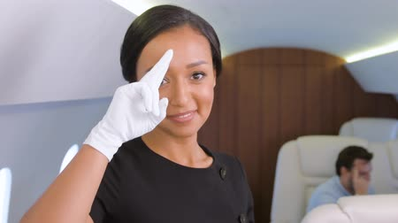 Stewardess saluting in private jet. Female biracial flight attendant making greeting gesture inside of business airplane cabin with passengers on background.