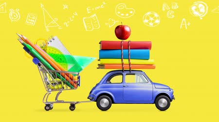Back to school. Car delivering shopping cart with stationery, books and apple against yellow colored school blackboard with education symbols. Seamlessly looped 4k animation. Wideo