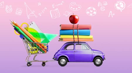 Back to school. Car delivering shopping cart with stationery, books and apple against purple and pink colored school blackboard with education symbols. Seamlessly looped 4k animation. Stock mozgókép