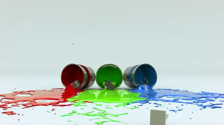 může : CREATE text falls from above and knocks over 3 cans of Red, Green and Blue paint.