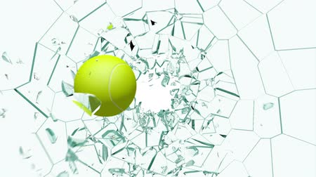 pausa : From my Glass Smash collection, a Tennis Ball shatters a pane of Glass. Comes with the Alpha Matte.