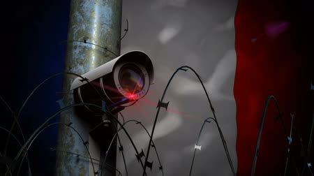 rioting : Security Camera on pole with razor wire making a seamless continuous pan with a French flag background.