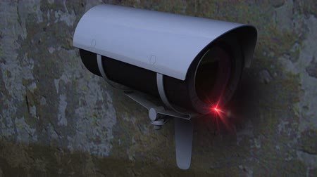 rioting : Close up view of a CCTV Camera performing a sweep against a grunge wall - loop. Stock Footage