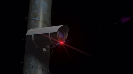 rioting : A Security Camera close up on a metal pole with razor wire, seamless loop, comes with the Alpha channel.
