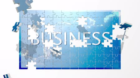 кусок : Puzzle pieces fly in and form the word Business.