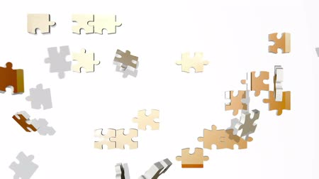 jigsaw : Puzzle pieces fly in and form WEALTH Stock Footage