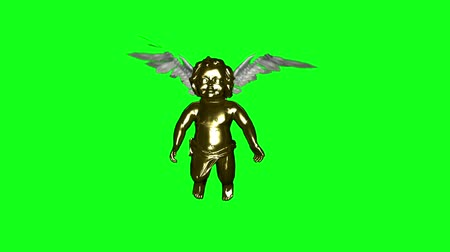 cupido : Golden Cherub with flapping wings loop. Against green for an easy comp(see my other clip with the Alpha Matte if needed)