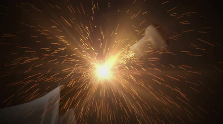 szampan : Close up of Champagne bottle cork exploding out of the bottle in slow motion with sparks and a fiery trail! Wideo