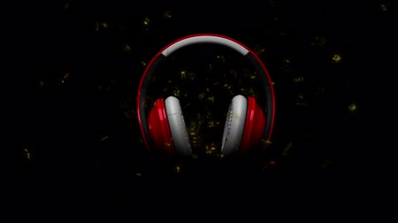 rocks red : Red pair of Headphones with throbbing earmuffs and music notes - Loopable and comes with the Alpha Matte.