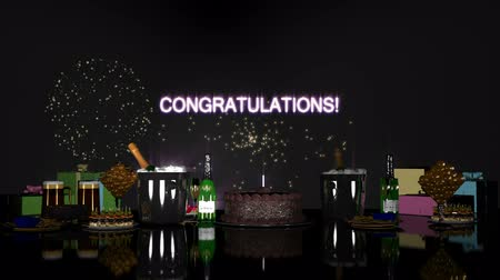 Поздравляю : Congratulations clip - party items, including Champagne, Beer, Nachos, Cake, Candle, Fireworks with the word CONGRATULATIONS.
