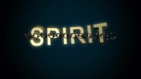 дух : Animated concept of Spirit text breaking free from chains. Comes with the Alpha Matte. Стоковые видеозаписи