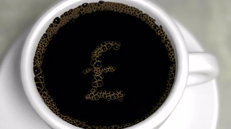 esterlino : White coffee cup with black coffee.  The bubbles slowly pop to reveal a British Pound Sterling symbol.