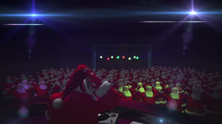 chant : Santa dons his Sunglasses and picks up his Headphones to get the party rocking! With a  crowd of Santas cheering his moves! Loopable.
