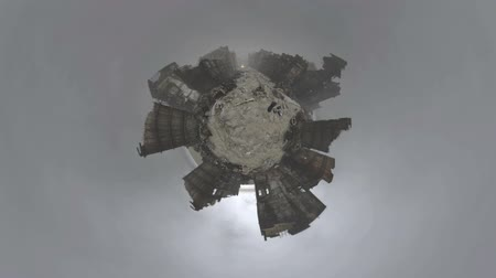 aftermath : Post apocalyptic city in ruins with burning car rendered with 360 degree camera and processed in the tiny planet style. Stock Footage