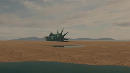 aftermath : Post apocalyptic scene of a head resembling the statue of liberty on a beach. The camera zooms in and a flock of pigeons fly out of it. Stock Footage