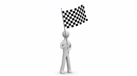 rali : Waving flag. 3d Man holding and waving a checkered flag. Loop. Alpha channel.