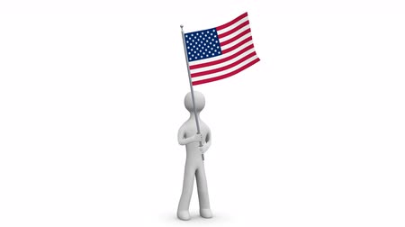 caracteres : USA waving flag. 3d Man holding and waving an American flag. Loop. Alpha channel