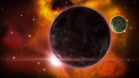 Mythical sci-fi planet eclipse in the distant space. Loop. Wideo