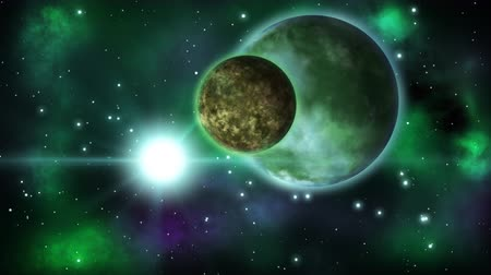 Animated green alien exoplanet with a moon . Loop.