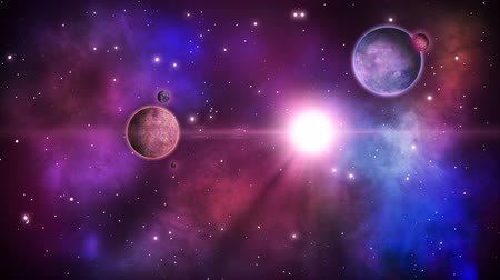 Fantastical cosmic scene with planets and starry nebulae . Loop. Wideo