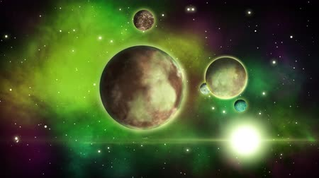 starry sky : Sci-fi planets with satellites circling around them. Space background.. Loop. Stock Footage