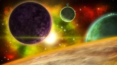 solar : Fantasy planetary system. sci-fi space background. Looped animation.
