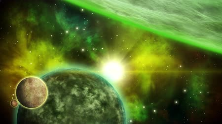 Sci fi green space background. Looped animation.