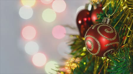 tremulous : Christmas ornaments on Christmas tree ,time lapse Stock Footage