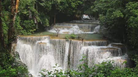 huai : Beautiful Huai Mae Khamin waterfall, Flowing in the rainy season with  green forest ,  Kanchanaburi Province, Thailand