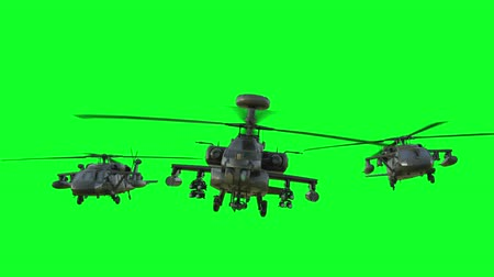 copter : Military helicopter Boeing AH-64 Apache realistic 3d animation. Realistic reflections, shadows and motion. Green screen