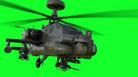 katonai : Military helicopter Boeing AH-64 Apache realistic 3d animation. Realistic reflections, shadows and motion. Green screen