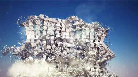 földrengés : destruction of the building. Realistic 3d animation Stock mozgókép