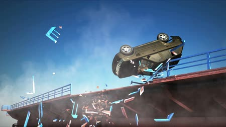 kaza : car accident. falling from the bridge. 3d animation