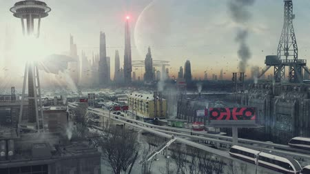 alienígena : 3D animation of a futuristic landscape. fantastic view. future