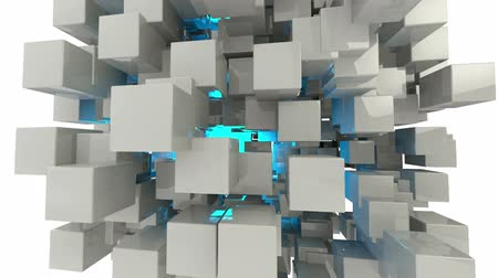 grafika : Abstract geometric cubes animation  background . alpha channel Wideo