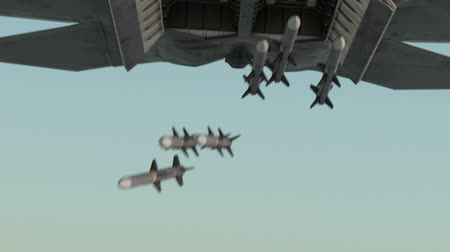 истребитель : Military plane drops bombs from a high altitude. Jet fighter in clouds , realistic 3d cg animation
