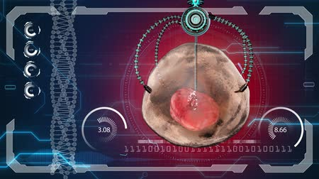 talos : Nano robot kills the human cell. Medical concept anatomical future. HUD background