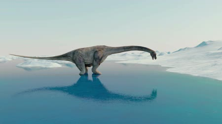 оказывать : Dinosaur. Prehistoric snow landscape, ice valley with Dinosaurs. Arctic view Стоковые видеозаписи